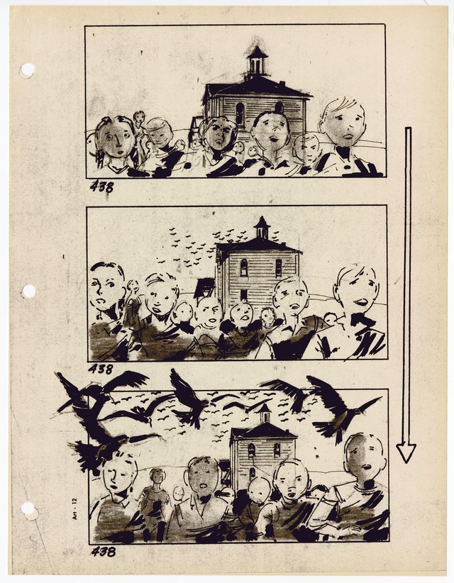 p-igina-de-storyboard-do-filme-os-p-issaros-1963-cr-r-dito-alfred-hitchcock-papers-margaret-herrick-library-academy-of-motion-pictures-and-sciences
